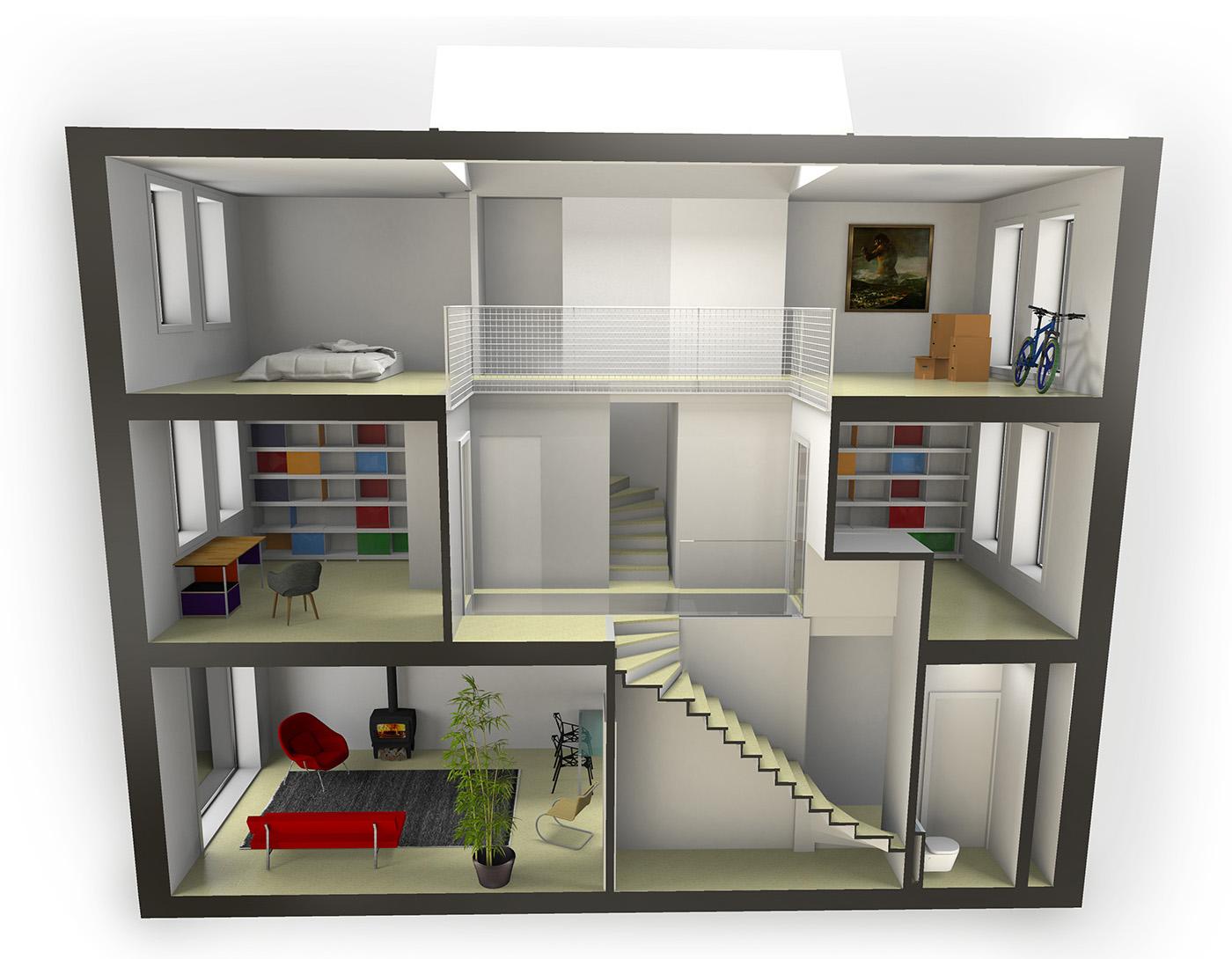 Vc for Huis in 3d ontwerpen
